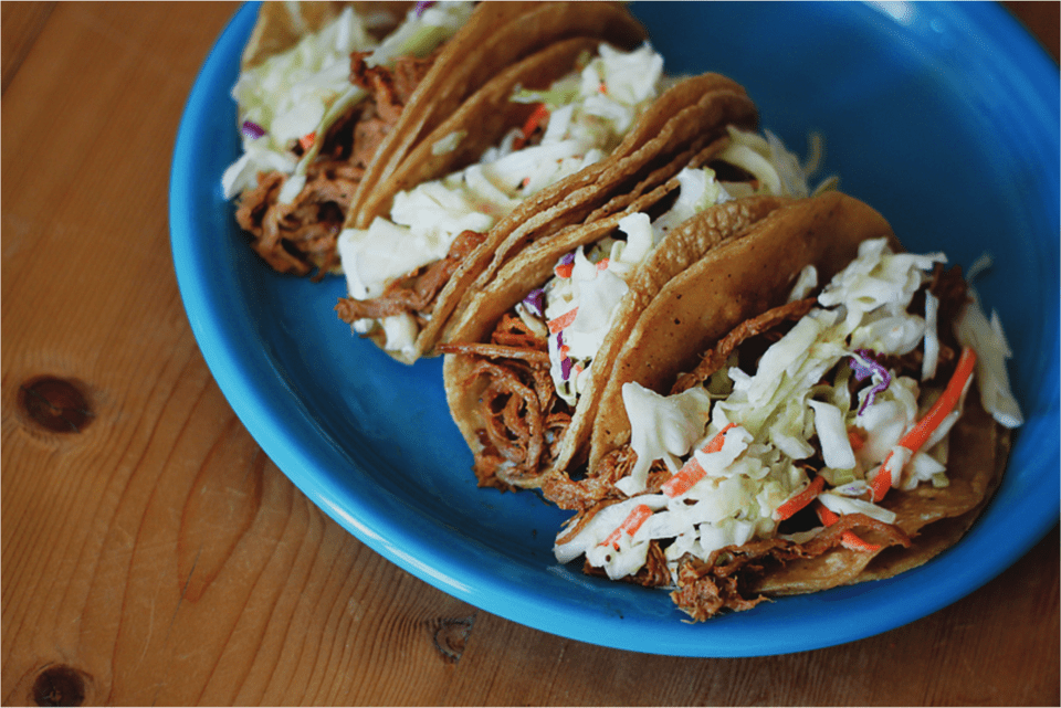 redneck tacos with coleslaw and pulled pork